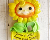 Vintage Happy Chalkware Sunflower Motto Pot Holder or Key Holder - Wall Hanging - Anthropomorphic - 1970s Miller Studio - Swap a Smile