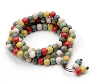 108 7mm x 7mm Multi-Color Porcelain Prayer Beads Tibetan Buddhist Mala  ZZ394