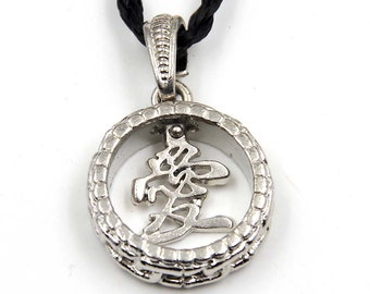 Chinese Character AI Love Alloy Metal Round Pendant 25mm*25mm*7mm  T1882