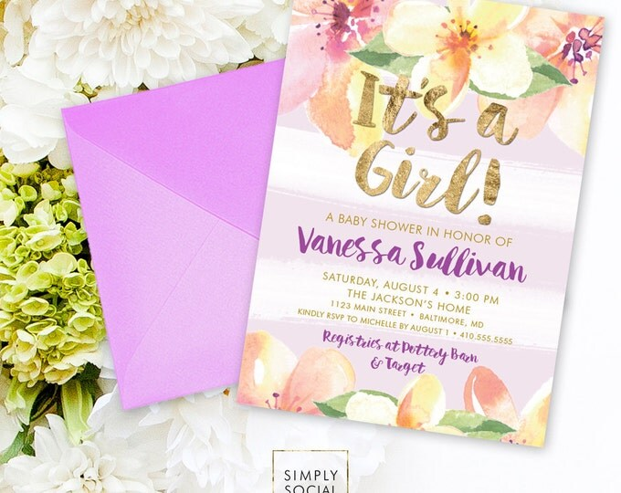 Floral Baby Shower Invitation - Stripe Floral Faux Gold Foil Peach Purple Yellow Boho Flowers Watercolor It's a Girl Printable