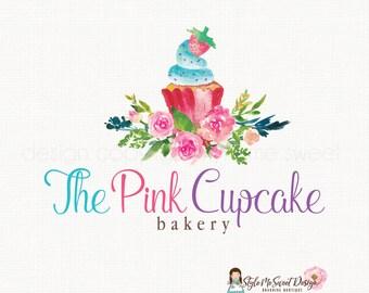 cupcake logo design bakery logo design bakers logo baking logo watercolor logo flower logo party logo design premade logo design watermark