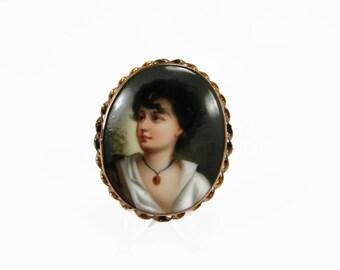 Vintage Hand Painted Brooch, Neapolitan Fisher Boy, Rose Gold Gilt, Estate Jewelry, Victorian Brooch, Porcelain Brooch, Gustav Richter