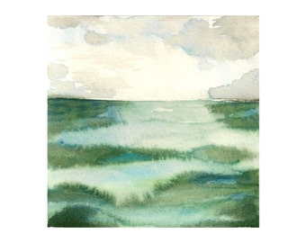 """Abstract painting, Ocean Watercolor, Abstract Watercolor, Ocean Painting, Emerald Sea: Original Ocean Landscape Watercolor Painting 4.5x4.5"""""""