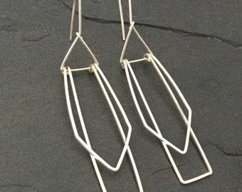 Modern Earrings; Sterling silver geometrical earrings; art jewelry; art deco earrings; minimalist jewelry