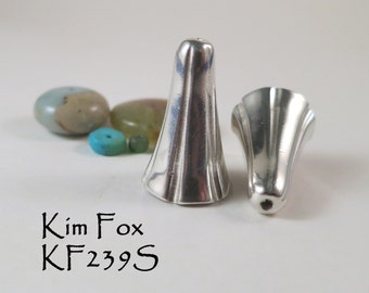 Bell Flower Cones in Silver - substantial tapered cones - by Kim Fox