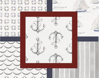 Nautical Fitted Crib sheet or Changing pad cover in your choice of prints