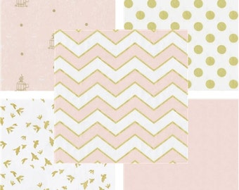 Pink and Gold Baby Girl Bedding - Custom Nursery Bedding - pink Chevron crib bedding - Gold Chevron - Polka dots