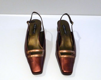 Brown Pumps Sling Backs Vintage Metallic Copper & Bronze Accent Shoes Like New Size 9 Geometric Kitten Heel Mod Party 1990s does 1950s
