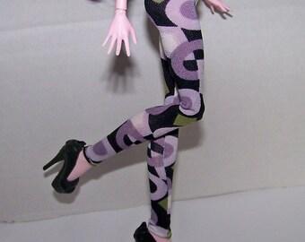 Handmade Monster High doll clothes - black, purple, green and white design leggings
