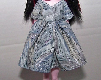 Handmade Monster High doll clothes - blue-green silvery peacock feather design dress