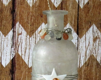 Vintage Frosted Round Medicine Bottle with Button Flower