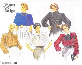 Vogue 1581 Women's 80s Tie Blouse Sewing Pattern Size 12 Bust 34.