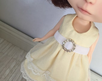 Blythe Bling Party Dress - Cream and White