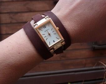 Golden Square watch, Leather Wrap Watch Cuff Bracelet,