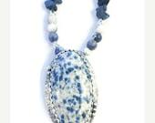 ON SALE K2 blue jasper silver pendant, blue dots jasper necklace