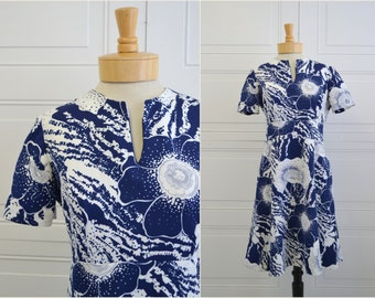 1960s Navy and White Floral Dress