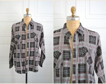 1970s Haband Plaid Flannel Shirt