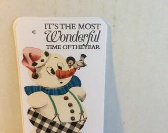 Christmas snow man tags, set of 6 holiday gift tags, Christmas gift tags