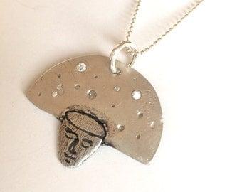 Head in the Stars Fine Silver Necklace
