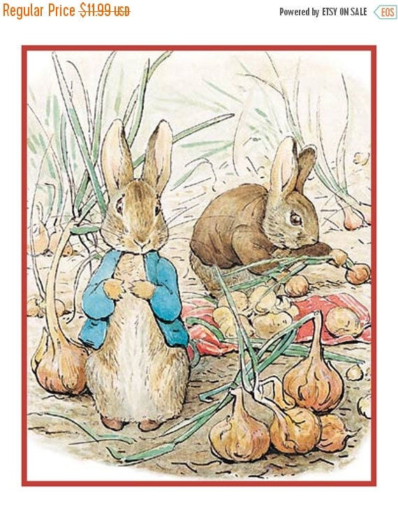 NOW on SALE Peter and Benjamin Collect Onions by Beatrix Potter Counted Cross Stitch Chart / Pattern FREE Shipping