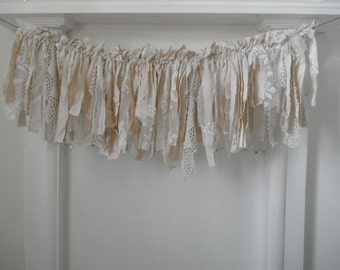 rag garland tea stained garland vintage style garland wedding decor photo prop nursery decor cottage chic shabby decor crochet 3 foot
