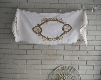 "vintage table runner cream linen runner dresser mat table decor embroidered mat open work embroidery shabby and chic table linens 46"" x 16"""
