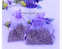 """Lavender Sachet , Very Fragrant Fresh Lavender Buds Organza 3""""x4 """"Bags, Lavender Essential Oil Sachet Bags, By:tranquilityy"""