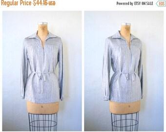 20% SALE 1970s metallic silver lurex ladies belted tunic top - Studio 54 - disco blouse / Judy Bond - vintage 70s - mod / space age - metall