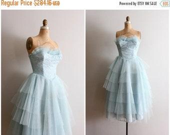 20% SALE vintage 50s strapless tulle dress - 1950s prom dress / pastel tulle & lace party dress - aqua blue / vintage bridesmaid dress