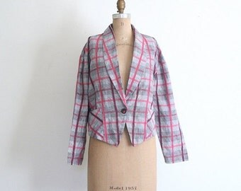 SALE / plaid linen 80s ladies cropped blazer - plaid Heathers jacket / New Wave - vintage 1980s summer jacket / 80s pink & black cotton line