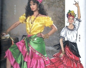 Butterick B4889 Gypsy, Fortune Teller, Latin Dancer, Tango Costume Sewing Pattern Size Large & XLarge Uncut