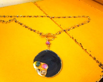 2-Strand Stunner: Natural BLUE Sliced AGATE Pendant w/22k Gold Plating & Tumbled Stones on Gold Pyrite and LAPIS Rosary Chain Necklace