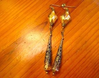 Superlative AB Iridescent TOPAZ Thick Diamond-Shaped Crystal w/Ornate Brass FILIGREE Bead Cones & Caps Vintage Dangle/Drop Pierced Earrings