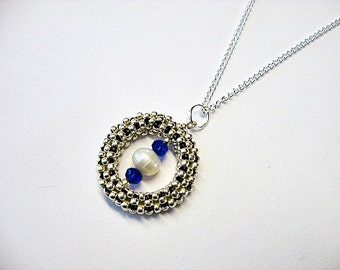 Silver Freshwater Pearl, Blue Swarovski Crystal Beaded Circle Pendant Necklace