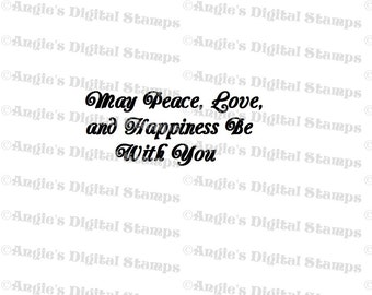 Peace & Love Quote Digital Stamp Image