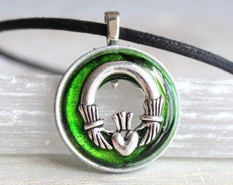 green Claddagh necklace, Claddagh jewelry, anniversary gift, irish necklace, irish jewelry, wedding gift, wedding jewelry, unique gift