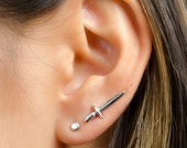 Tiny Dagger Ear Cuff, Sterling Silver & Gold Plated, Edgy Pin Earrings, Silver Sword Ear Wrap, Modern Jewelry, Gift for Him, EC016