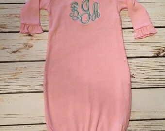 Light pink ruffle sleeve monogrammed gown