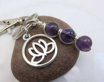 Amethyst keychain purple gemstone keyring bag charm wire wrapped beaded lotus flower silver with swivel clasp