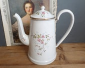 Old French enamelware flowers patterns cafetiere coffee pot 1920s