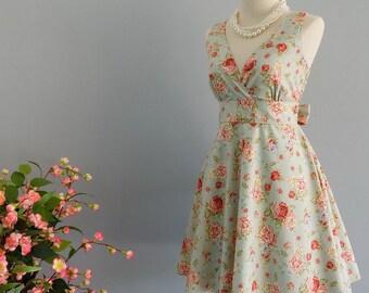 My Lady II - Pale Blue Floral Summer Dress Blue Floral Sundress Vintage Design Country Prom Dress Blue Floral Wedding Bridesmaid Dress XS-XL