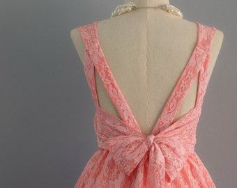 Pink dress dress pink lace dress pink party dress pink prom dress pink cocktail dress bow back dress pink bridesmaid dresses lace dress