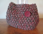 Chunky hand knit cowl in brown and rust earth tones with one big trendy button and FREE SHIPPING to the 50 United States