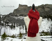 Handmade Red Chunky Winter Scarf for Women