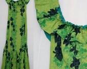 Vintage Acid Green Restructured Hawaiian Mermaid Dress