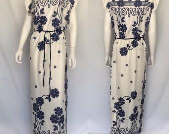 Vintage 1970s Liquid Light Poly Maxi Dress - Floral Design