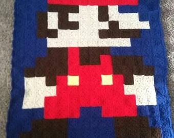 Mario pixel afghan blanket. Made to order.
