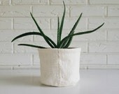White African Mudcloth Plant Cover - Fabric Planter - Modern Bohemian Decor