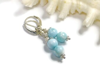 Larimar Earrings, Atlantis Stone, Blue Stone Earrings, Dolphin Stone, Blue Pectolite Earrings, Beachy