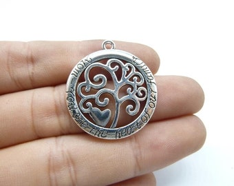 15pcs 28mm Antique Silver Tone Tree of Life Mom You are the Heart of our Family Charm Pendants Jewelry Making Handmade Craft C8225